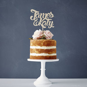 Personalised Couples Wooden Wedding Cake Topper - cakes & treats