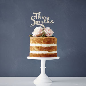 Calligraphy Surname Wooden Wedding Cake Topper