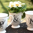 Couples Initials Set Of Three China Mugs