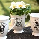Couples Initials Set Of Three China Mugs