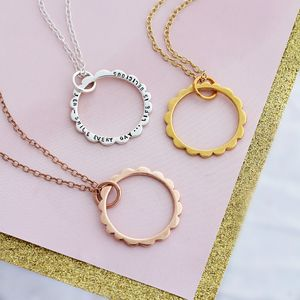 Personalised Scalloped Circle Necklace - necklaces & pendants