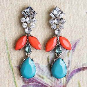 Highgate Turquoise And Tangerine Statement Earrings - jewellery sale
