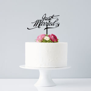Elegant 'Just Married' Wedding Cake Topper - table decorations