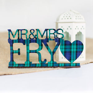 Mr And Mrs Personalised Wedding Sign In Tartan