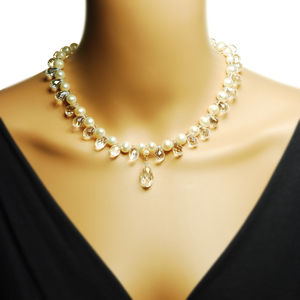 Crystal And Pearl Cluster Necklace - women's jewellery
