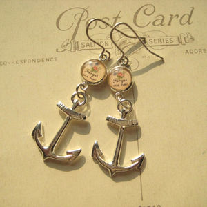Forget Me Not Anchor Charm Earrings