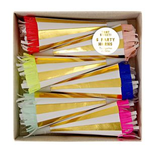 Colourful And Gold Stripe Party Horns