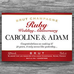 Ruby 40th Wedding Anniversary Champagne Bottle Labels