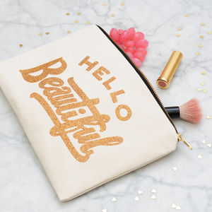 'Hello Beautiful' Glitter Pouch