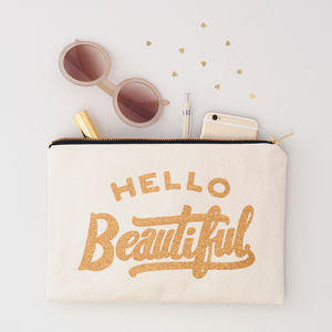 'Hello Beautiful' Glitter Pouch - off to university