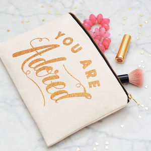 'You Are Adored' Glitter Pouch