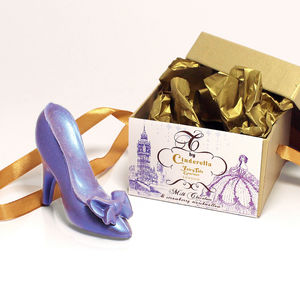 Cinderella Strawberry Marshmallow Milk Chocolate Shoe S - luxury chocolates
