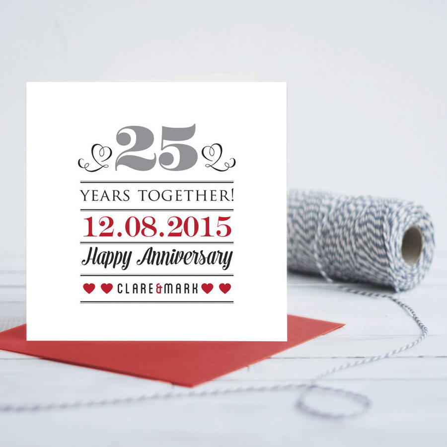 25th Wedding Anniversary Personalised Card By Quirky Gift