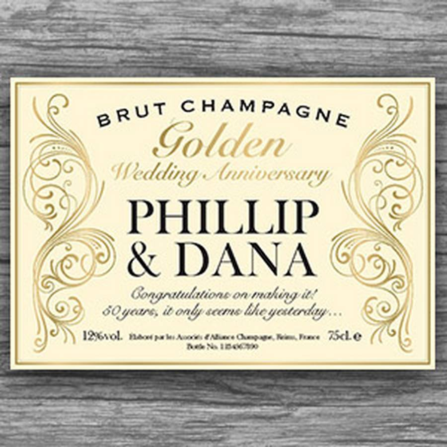 50th Wedding Anniversary Gift Tags : golden 50th wedding anniversary champagne bottle labels by ...