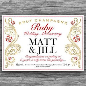 Decorative Ruby 40th Anniversary Champagne Labels