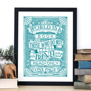 'The World Is A Book' Travel Quote Print - literature