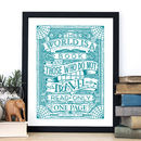 'The World Is A Book' Travel Typography Print