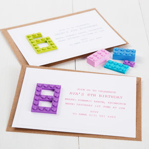 Building Block Age Party Invitations