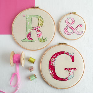 Set Of Three Personalised Initial Embroidery Hoops - children's room