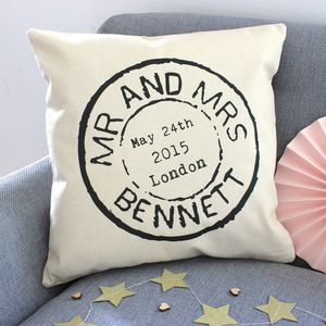 Personalised Wedding Stamp Cushion - mr & mrs