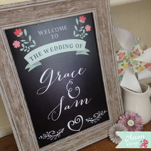 Floral Chalkboard Wedding Welcome Print - room signs