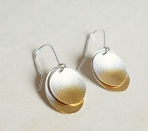 Electra Disc Double Layer Drop Earrings - earrings