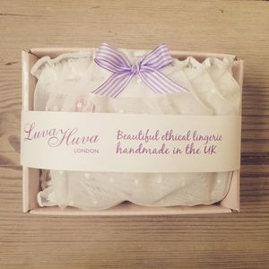 Cream Polka Dot Mesh Knicker Gift Box - the morning of the big day