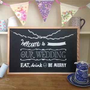 Hand Drawn Wedding Welcome Sign Chalkboard - room signs