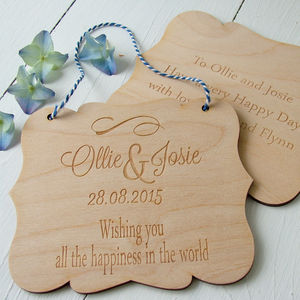 Engraved Birchwood Wedding Card - modern calligraphy for weddings