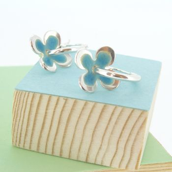 Handmade Enamelled Silver Daisy Hoop Earrings