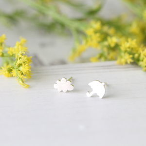 Sterling Silver Cloud And Umbrella Ear Studs - earrings