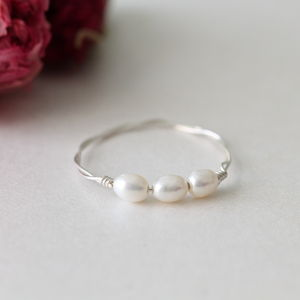 Silver Ring With Mini Fresh Water Pearls - rings