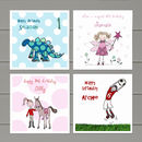 Four Personalised Children's Birthday Cards