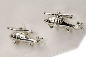 Sterling Silver Helicopter Cufflinks - men's jewellery