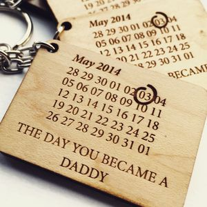 Personalised Calendar Date Wooden Keyring - token gifts