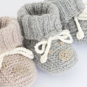 Cashmere Booties With Bear Face Motif