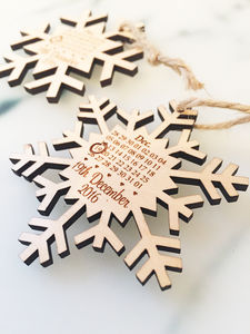 Snowflake Wooden Save The Date - winter wedding ideas