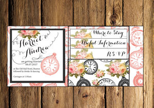 Clock Inspired Pocket Fold Wedding Invitation