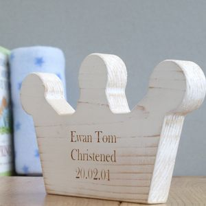 Personalised Christening Wooden Crown Keepsake