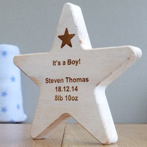Personalised Baby Boy Wooden Star Keepsake - decorative accessories
