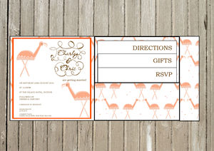 Flamingo Inspired Pocket Fold Wedding Invitation