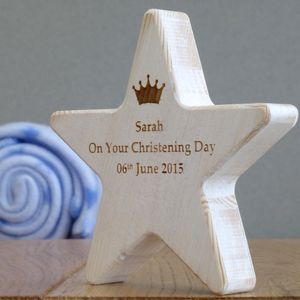 Personalised Children's Christening Star With Crown - christening gifts