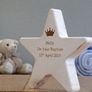 Personalised Baptism Wooden Star Keepsake