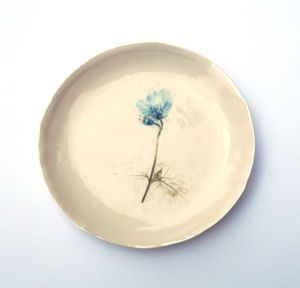 Handmade Porcelain Plate With Blue Flower - home accessories