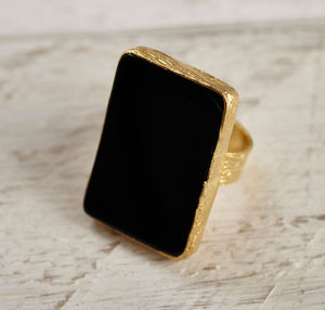 Large Black Semi Precious Cocktail Ring - whatsnew