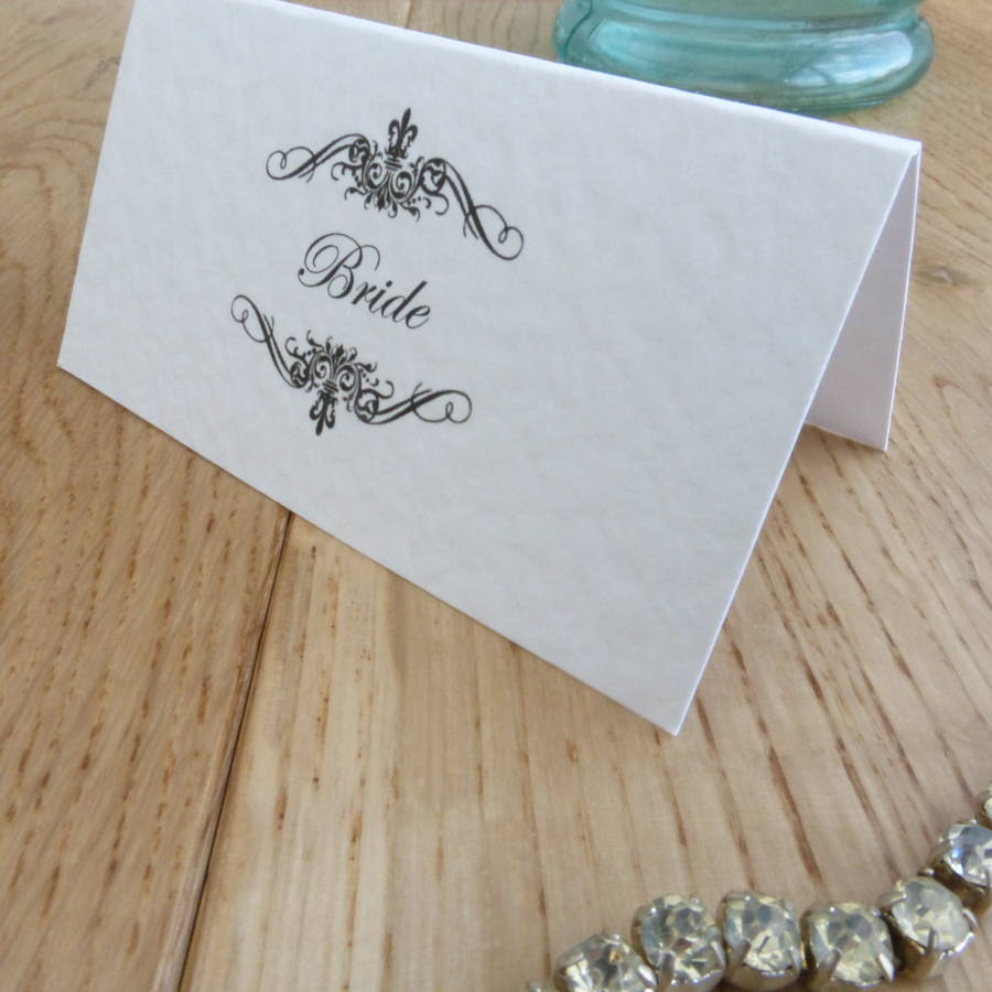 Personalised Wedding Name Cards Classic Swirl By Edgeinspired