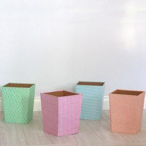 Recycled Pastel Geometric Waste Paper Bin