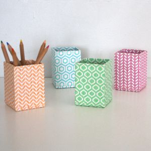 Recycled Pastel Geometric Pen Pot - shop by price