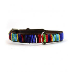 Beaded Leather Dog Collar - dogs