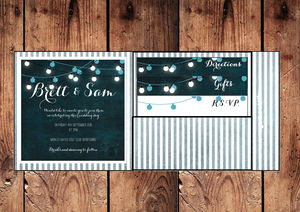 Lights Pocket Fold Wedding Invitation - wedding stationery